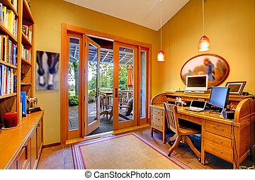 amarela, escritório lar, com, um, porta aberta, para, a,...