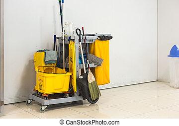 amarela, esfregue balde, e, jogo, de, equipamento limpando