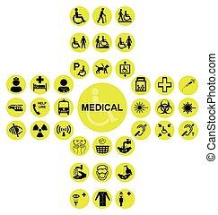 amarela, exame médico saúde, cuidado, ícone, cobrança