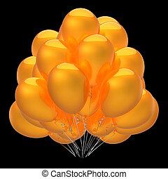 amarela, grupo, partido, bexigas, balões, lustroso, dourado