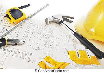 amarela, hardhat, ligado, desenhos