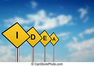 amarela, idéia, sinal estrada