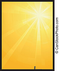 amarela, laranja, assimétrico, luz sol, estouro