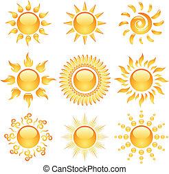 amarela, lustroso, sol, ícones, cobrança, isolado, ligado, white.