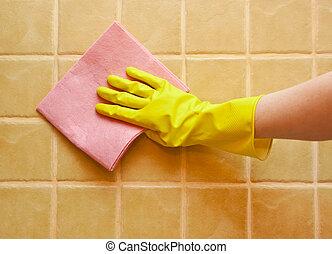 amarela, luva, mão