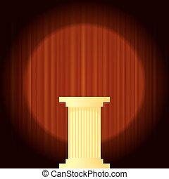 amarela, mármore, grego, coluna