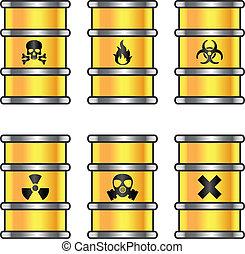 amarela, metálico, barris, com, aviso assina
