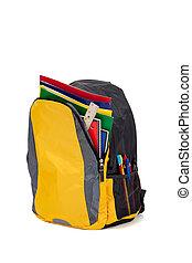 amarela, mochila, com, escola provê