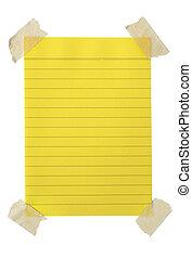 amarela, notepaper, com, fita