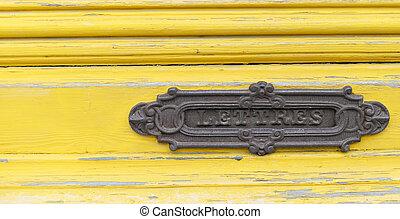 amarela, pintado, letterbox, porta, francês