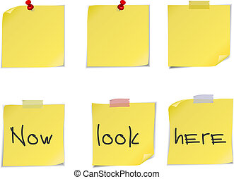 amarela, poste, notas, isolado, branco, experiência.