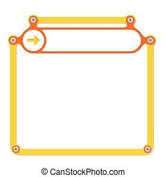 amarela, quadro, para, texto, com, parafusos, e, vermelho,...