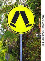 amarela, refletivo, sinal cruzamento pedestrian, -, corrente, australiano, sinal estrada