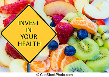 amarela, roadsign, com, mensagem, invista dentro, seu, saúde