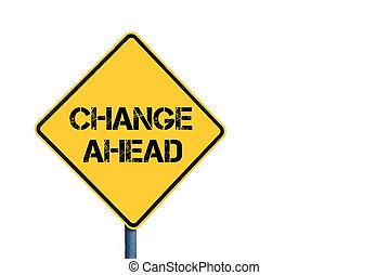 amarela, roadsign, com, mudança, à frente, mensagem