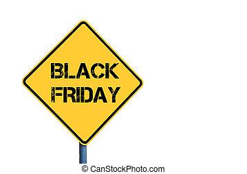 amarela, roadsign, com, pretas, sexta-feira, mensagem