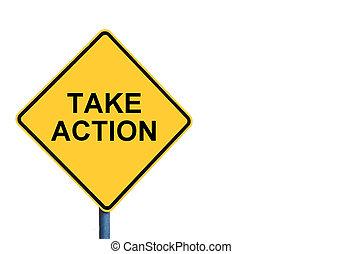 amarela, roadsign, com, tomar, ação, mensagem