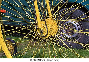 amarela, roda bicicleta