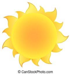 amarela, silueta, sol, com, gradiente