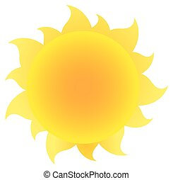 amarela, simples, sol, com, gradiente