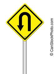 amarela, sinal aviso, u-turn, roadsign