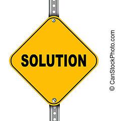 amarela, solução, sinal estrada