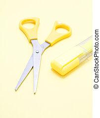amarela, tesouras, e, um, marcador