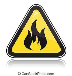 amarela, triangular, aviso, sinal., atenção, inflamável