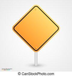 amarela, vazio, sinal estrada