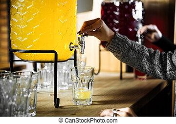 amarela, vidro, despejar, jarro, limonada