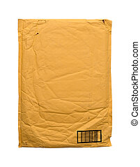 amarela, vindima, envelope, isolado, branco