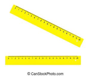 amarela, vinte, centímetros, ruller, isolado, branco
