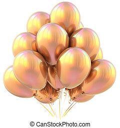 amarelo dourado, decoração, aniversário, lustroso, partido, balões, feliz