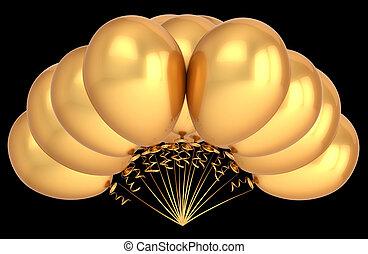 amarelo dourado, decoração, metallic., aniversário, luxo, partido, balões