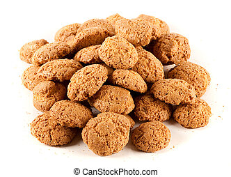 Close up of amaretti - delicious italian cookies, isolated on white background