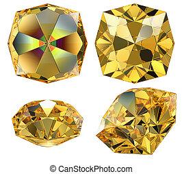 amarillo, ámbar, gema, aislado