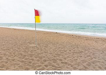 amarillo, abandonado, bandera, advertencia, playa, rojo
