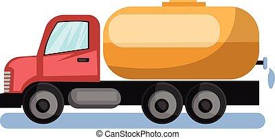 amarillo, agua, fondo., vector, camión, ilustración, blanco, petrolero, rojo, cisterna