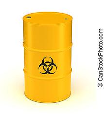 amarillo, biohazard, desperdicio, barril