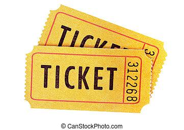 amarillo, boleto, aislado, blanco, fondo.