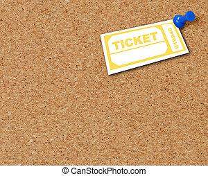 amarillo, boleto, pulgar, fichar tachuelas, a, corkboard