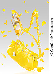 amarillo, bolso, y, bombas