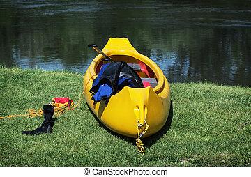 amarillo, canoa, barco, en, el, orilla