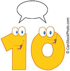 amarillo, carácter, número, diez