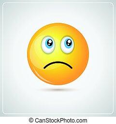 Amarillo Caricatura Cara Triste Negativo Gente Emoci Icono Clipart Vectorial Deprimido Infeliz