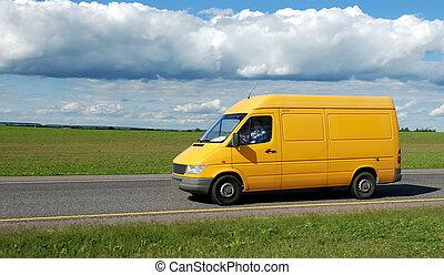 amarillo, carro de entrega