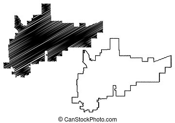 Amarillo City (United States cities, United States of America, usa city) map vector illustration, scribble sketch Amarillo map