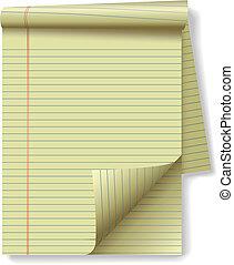 amarillo, cojín legal, esquina, papel, página