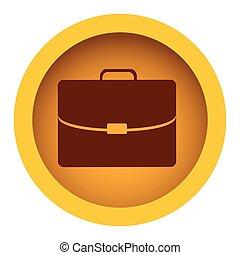 amarillo, color, marco circular, con, silueta, maletín, ejecutivo, icono