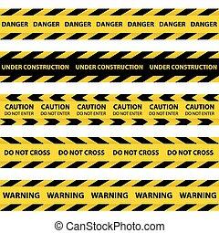 amarillo, conjunto, barrera, cintas